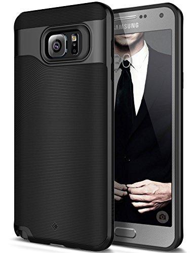 Caseology Galaxy Note 5 Hülle, [Wavelength Serie] Schmale Hülle mit Textur Doppelter Schutzschicht Sichere Haftung [Schwarz - Black] für Samsung Note 5 (2015)
