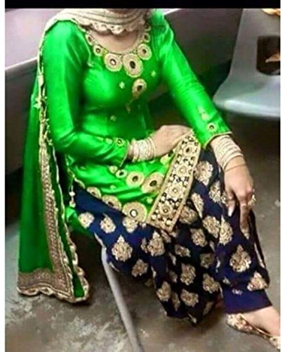 Designer Green Silk Embroidery Work + mirror Work Patiala Suit