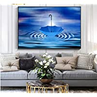 KPWAN Prints on Canvas 1 Pieces Abstract Blue Umbrella Modern Home Decor Wall Art Pictures Hd Print Canvas Paintings Poster-Prints on Canvas