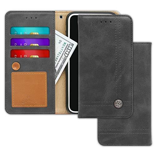 V30S, V30S +, V30S ThinQ, V30S ThinQ +, V35 ThinQ, V35 ThinQ + Case Trim LINE Flip-Tagebuch-Abdeckung mit Wallet-Entwurf - Kartenhalter, Geldautomaten, Seitenständer,Aschgrau ()