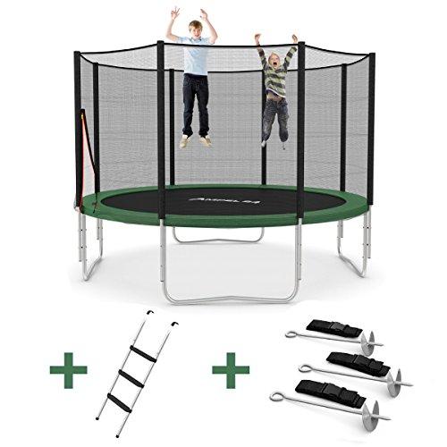 Ampel 24 Outdoor Trampolin Ø 366 cm grün mit verstärktem Netz | Gartentrampolin mit Leiter & Windsicherung | Sicherheitsnetz 8 gepolsterte Stangen | Belastbarkeit 160 kg | Gratis Expander