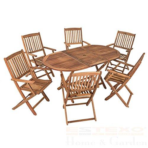 SSITG Garten Holzsitzgruppe 6 Personen Akazienholz 7-Teiliges Gartenmöbelset klappbar