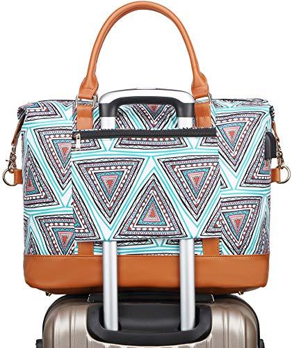 Reisetasche Für Frauen Groß - Mode Sporttasche mädchen Weekender Schultertasche Duffle Bag Fitnesstasche mit USB-Ladeanschluss (Böhmisches Grün)
