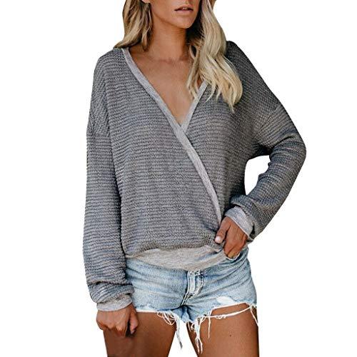 Smonke Damen Mode Pullover Langarm Bluse Herbst Winter Sweatshirts Übergroße Freizeitjacke Wrap V-Ausschnitt Mantel Outwear Lose T-Shirt Knit Baggy Batwing Tops (Wrap Sweater Top Knit)