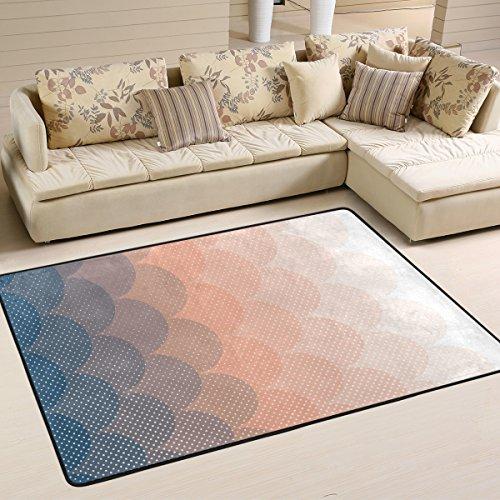 yibaihe Rosa und blaue Kreise Schöne Einrichtung Bereich Teppich Teppich Fußmatte für Hartholz Böden Wohnzimmer Schlafzimmer wasserabweisend, 183 x 122 cm -