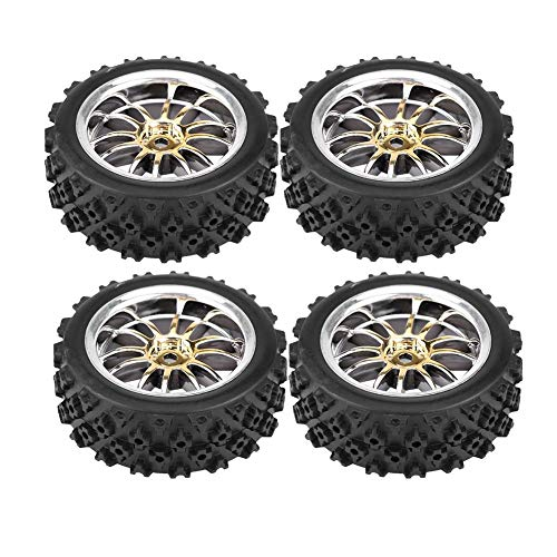 Dilwe RC Auto Gummireifen Felge für 1:10 Racing Off-Road Car Part(Gold)