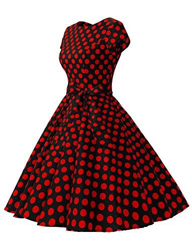 Dressystar Vintage Kleid 50er Jahre Rockabilly Swing Schwarz Rot Dot - 2
