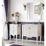 Landhaus Badezimmer Möbel Set im Romantik Stil ● Pinie Massivholz weiß ● 80cm Waschtisch-Unterschrank mit Keramik-Waschbecken ● Unterschrank & Spiegel ● Stand Badmöbel
