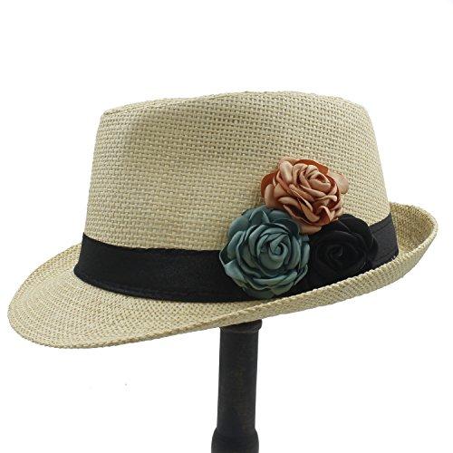 Damen-hüte Strand (Sunny&Baby Damenmode Toquilla Stroh Strand Sonnenhut für elegante Dame Sommer Panama Fedora Hut mit Kamelie Blume Mode ( Color : 1 , Size : 58cm ))