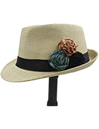 Gr Mode Toquilla Stroh Frauen Boater Strand Sonnenhut Fedora Hut Mit Kamelie Blume Sommer Chapeu Feminino Panama (Color : 1, Größe : 58cm)