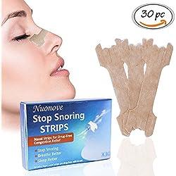 Nasenpflaster, Gegen Schnarchen, Nasenstrips, Schnarchstoppper, für maximalen Halt in der Nacht beim Schlafen gegen Schnarchen und bessere Nasenatmung beim Sport, 30 Stück