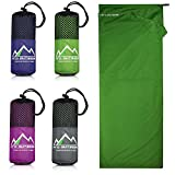 Premium Hüttenschlafsack aus Hightech Mikrofaser mit Kissenfach plus GRATIS E-Book I Reiseschlafsack in 4 Farben und optimaler Größe I Ultraleicht, antibakteriell und atmungsaktiv (Grün)