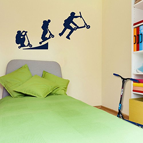 Stunt-Scooter Sport Evolution Scotter Style 4 Wand Dekorationen Fenster Aufkleber Wall Decor Sticker Wall Art Aufkleber Sticker Wand Aufkleber Aufkleber Wandbild Décor DIY Deco Abnehmbare Wandaufkleber Colorful Aufkleber, Vinyl, 14 - Dark Blue, Large