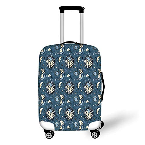 Travel Luggage Cover Suitcase Protector,Sun and Moon,Folkloric Ethnic Ornate Night Festive Sleeping Cosmos Galaxy Decorative,Slate Blue Light Blue Cream,for Travel S Blue Moon Coffee