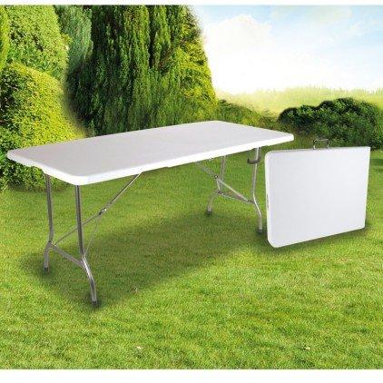OSE Grande Table de Jardin Pliante Blanche 8 pers 180 cm -
