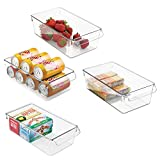 mDesign Set of 4 Storage Tray – Large Box with Handle – Ideal as a Kitchen Tray in the Kitchen Cupboards or as Fridge Boxes – Clear
