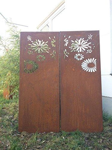 2st.symmetrisch Garten Sichtschutz aus Metall Rost Gartenzaun Gartendeko edelrost Sichtschutzwand PF0023 150*75*2CM