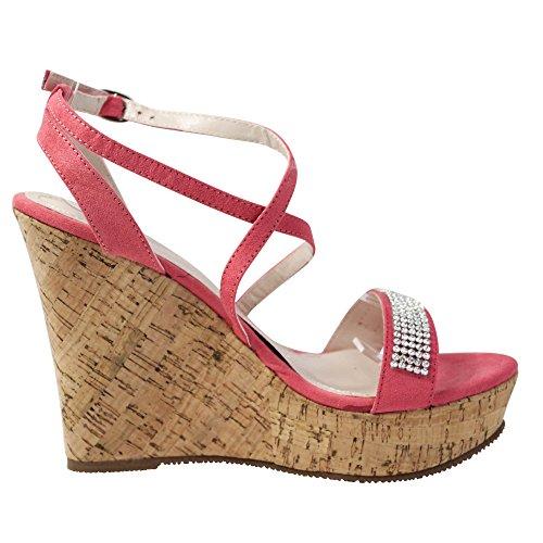 Damen Sandalen Keilabsatz Glitzer Sandaletten Wedge High Heels ST703 Pink