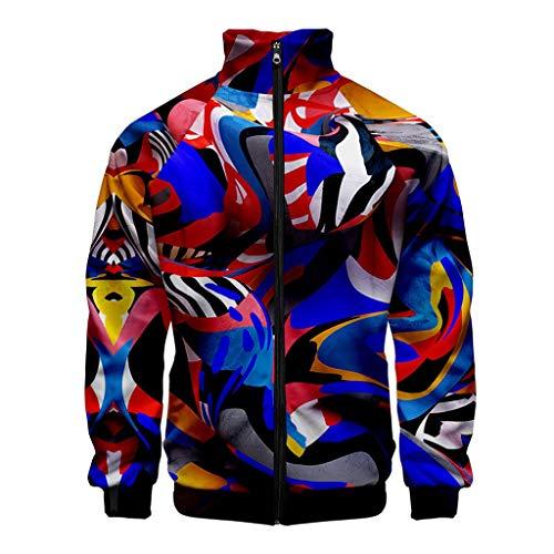 LIMITA Herrenjacke Winter Casual 3D Printing Jacke mit Reißverschluss Langarm Sportbekleidung Jacke Outwear Motorradjacke Bomberjacke Baseball Jacke