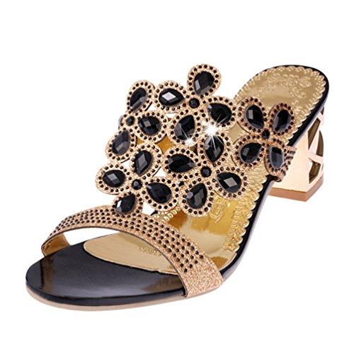 Women es Block Heeled Slides Dress Sandalen Peep Toe Slip auf Hohlen Keil Strass Hochzeit Schuhe