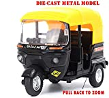 #4: Happy GiftMart Bajaj Auto Rickshaw - 1:14 Scale - Die-Cast Metal Model Toy For Kids