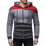 Yvelands Herren Sweatshirt Kapuzenpullover Herbst Winter Farbe Patchwork mit Kapuze Reißverschluss Tasche Jacke Mantel(EU-50/XL,Weinrot)