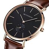 betfeedo Herren Armbanduhr Schwarz minimalistischen, Casual Quarz Classic Handgelenk Uhren mit Leder Band, Keramik Zifferblatt