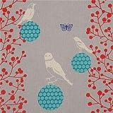 Graues Wachstuch mit Vögeln und roten Blättern