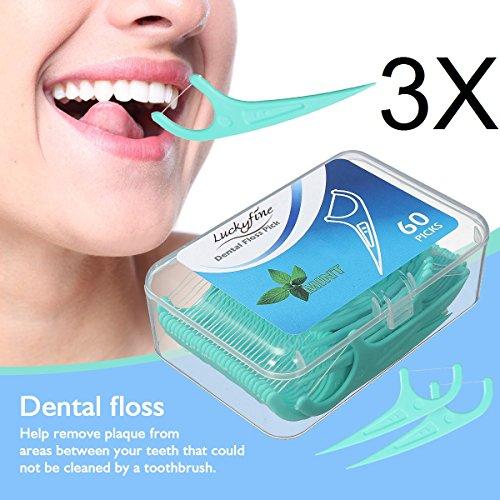 Zahnseide, LuckyFine 180 Stück Weiß Zahnpflege Interdental Flosser Zahnreiniger Sticks, Zahnseidensticks, Zahn Draht, Zahnstocher Stick Oralpflege