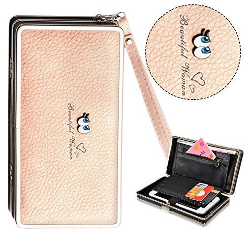 Bonice borsa del portafoglio da donna con la chiusura lampo in pelle PU multifunzione [Grande capacità] Card Slots Case Cover per iPhone 8/8 Plus/iPhone X, iPhone7/7 Plus/6S/6S Plus/6/6 Plus/5/5S/5C/S Occhi-Cover-10