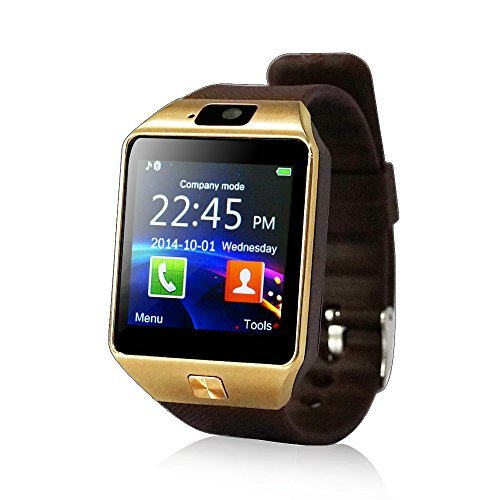 YUNTAB fitness dell'involucro del polso orologio cellulare Touch Screen Fotocamera per iPhone (Marrone)