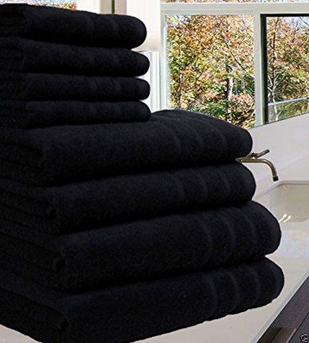 Luxuriöses Handtuch-Set aus 100 % luxuriöser, ägyptischer Baumwolle,8Stück, 550 g/m², in extra großen Größen erhältlich, baumwolle, Schwarz , 8 Pieces Set (Schwarze Badetücher)