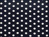 Attuale tessuto jersey di viscosa, a pois, blu marine, 150cm