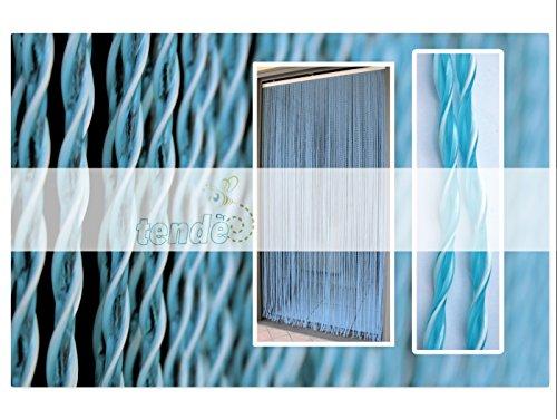 Cortina de PVC Modelo Capri - Medidas estándar (100X220 / 120X230 / 130X240 / 150X250) - Cortina de la puerta - Cortina mosquitera (100X220, Azul)