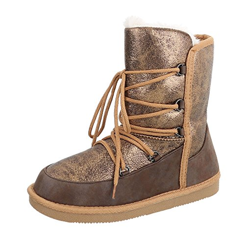 Schnürstiefeletten Damenschuhe Schnürstiefeletten Warm Gefütterte Schnürsenkel Ital-Design Stiefeletten Bronze Braun