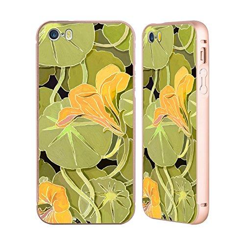Ufficiale Howie Green Rana Rosa Fiori Oro Cover Contorno con Bumper in Alluminio per Apple iPhone 5 / 5s / SE Ninfee