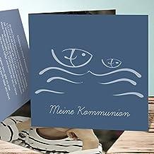 Kommunion Einladungskarten Selbst Basteln, Wellig 10 Karten, Quadratische  Klappkarte 145x145 Inkl. Weiße Umschläge