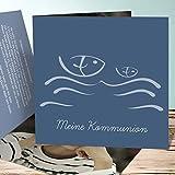 Kommunion Einladungskarten Selbst Basteln, Wellig 10 Karten, Quadratische Klappkarte 145x145 inkl. weiße Umschläge, Blau