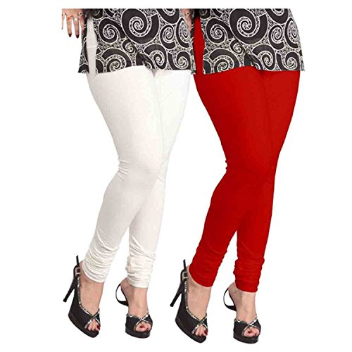 Superior Washer & Gasket FeelBlue Women\'s Cotton Stretched Leggings Combo (Free Size, Red and White, Legins-RedWhite) - Set of 2