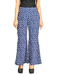 Timbre Women's Western Palazzo Pants With Pockets Blue