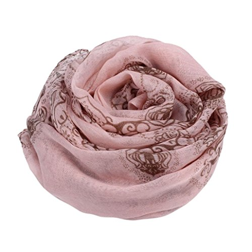 Transer ® Femelle Écharpes,Femmes Lady Classique Imprimer Voile Echarpe Echarpes / Foulards Sun Protection Gauze Kerchief Écharpe Rose