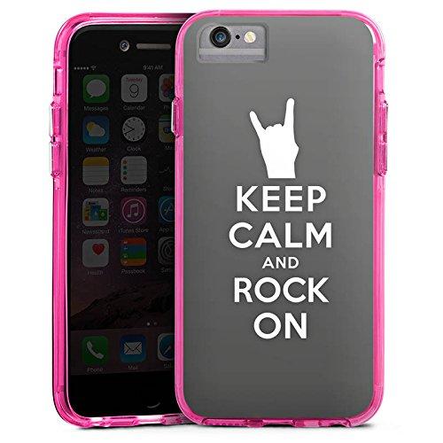 Apple iPhone 8 Bumper Hülle Bumper Case Glitzer Hülle Keep Calm Festival Rock Bumper Case transparent pink