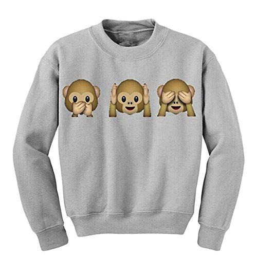 Mignon Imprimé animal Crewneck Sweatshirt à capuche Gris