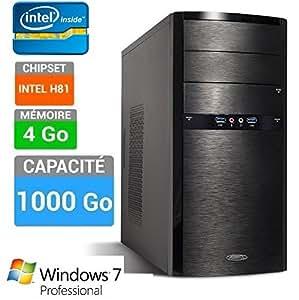 PC Windows 7 Pro - Intel Dual Core G1820 - RAM 4 GB - USB 3.0 - 1 To HDD - Ordinateur de Bureau Professionnel - Unité centrale