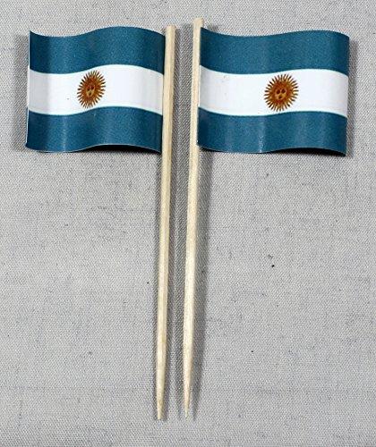 Party-Picker Flagge Argentinien Papierfähnchen in Profiqualität 50 Stück 8 cm Offsetdruck Riesenauswahl aus eigener Herstellung
