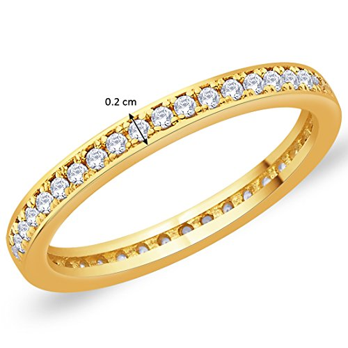 Peora Sterling Silver Golden Eternity Cubic Zirconia Band for Women