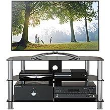 1home Meuble TV en Verre de Sécurité Noir aux Ecrans 32-60inch, Largeur de 100cm