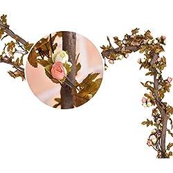 MIOIM® Vintage Artificial de la Flor de Rose de la Hoja de Otoño de la Vid que Cuelga de la Guirnalda Decoración Para Boda Hogar Habitaciones Pared del Jardín Ventana