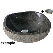 Lavabo en piedra natural, diametro aproximadamente 35/40 cm + 1 tapon (desaguë) 8cm