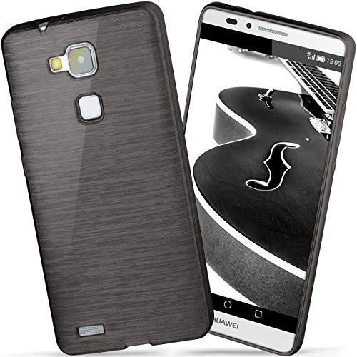 moex Huawei Mate 7   Hülle Silikon Schwarz Brushed Back-Cover TPU Schutzhülle Ultra-Slim Handyhülle für Huawei Ascend Mate 7 Case Dünn Silikonhülle Rückseite Tasche